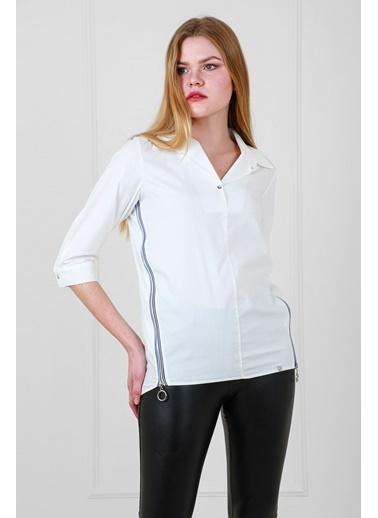 JEANNE D'ARC Pamuk Kumaş Yandan Fermuar Detaylı Bluz Beyaz